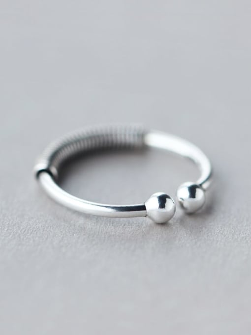 Rosh 925 Sterling Silver Irregular Vintage Screw Thread Free Size  Ring 1