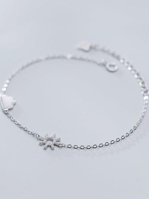Rosh 925 Sterling Silver Cubic Zirconia Flower Minimalist Link Bracelet 2