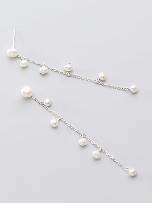 Rosh 925 Sterling Silver Imitation Pearl  Tassel Minimalist Threader Earring 2