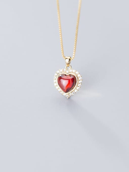 Rosh 925 Sterling Silver Synthetic Red Agate Heart Shaped Diamond Necklace 1