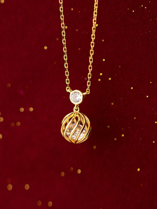 Rosh 925 Sterling Silver Simple hollow ball pendant Necklace 3