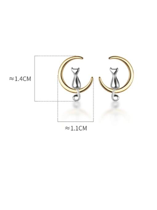 Rosh 925 Sterling Silver Cat Moon Minimalist Stud Earring 2