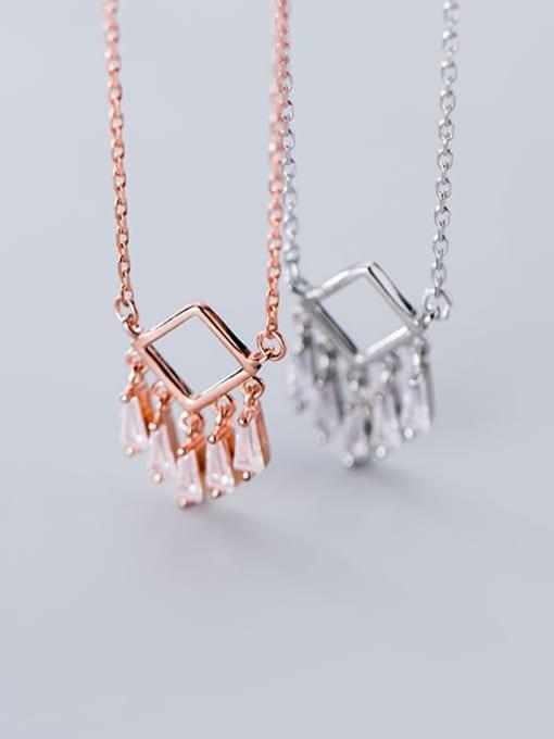 Rosh 925 Sterling Silver Cubic Zirconia  Minimalist Fashion Geometry   Tassel Necklace 1