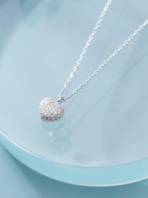 Rosh 925 Sterling Silver Minimalist  Simple Fashion Full Diamond Heart Pendant Necklace 1