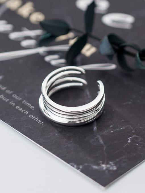 Rosh 925 Sterling Silver Minimalist Fashion Multi-layer lines Irregular Free Size Ring 1