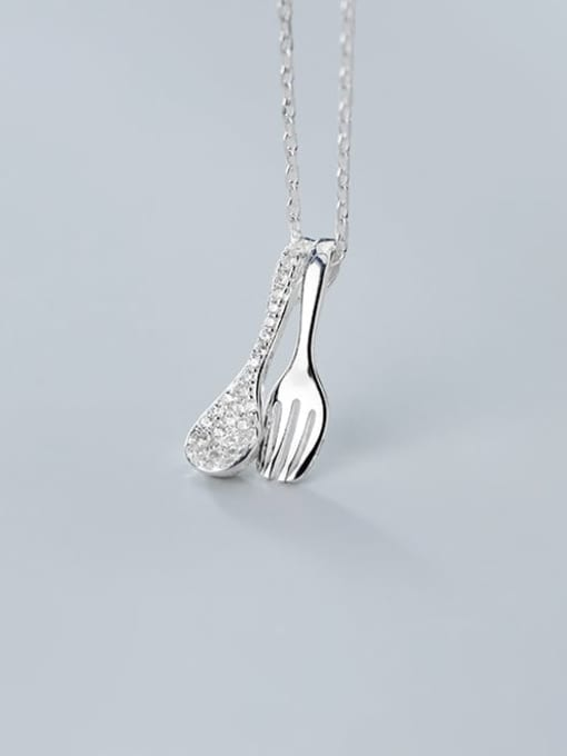 Rosh 925 sterling silver Simple  cute fork spoon pendant necklace 1