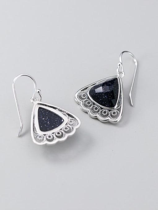 Rosh 925 Sterling Silver Resin Black Triangle Vintage Hook Earring 1
