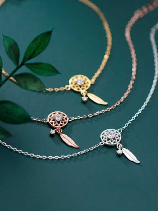 Rosh 925 Sterling Silver Trend Hollow diamond leaves Bracelet 3