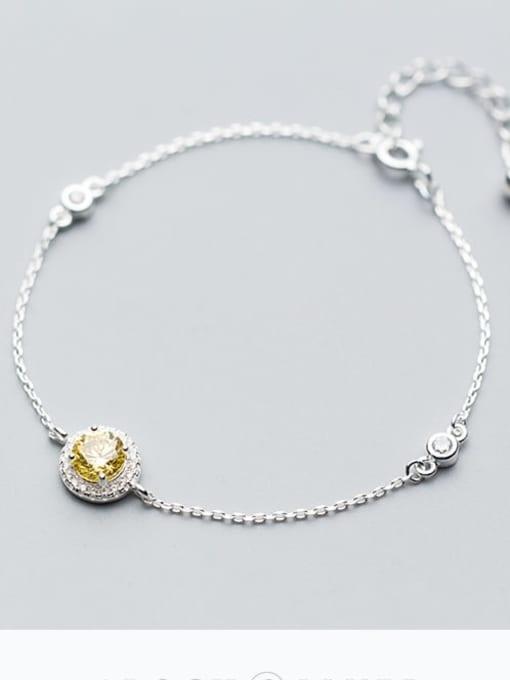 Rosh 925 Sterling Silver Cubic Zirconia White Round Minimalist Link Bracelet 1