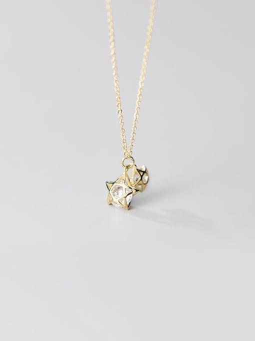 Rosh 925 Sterling Silver Cubic Zirconia simple multi diamond Pentagram fashion hollow Necklace 1