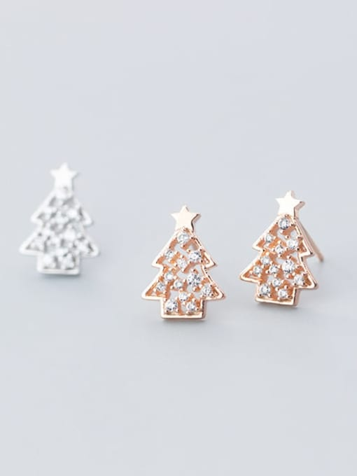Rosh 925 Sterling Silver Rhinestone  Christmas tree Minimalist Stud Earring