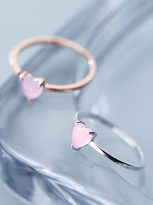 Rosh 925 Sterling Silver Crystal Pink Heart Minimalist Band Ring 2