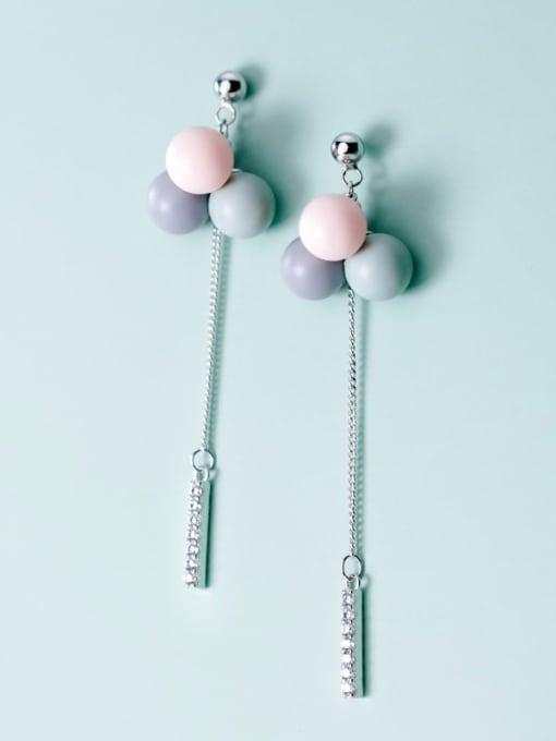 Rosh 925 Sterling Silver Multi Color Bead Trend Threader Earring 0