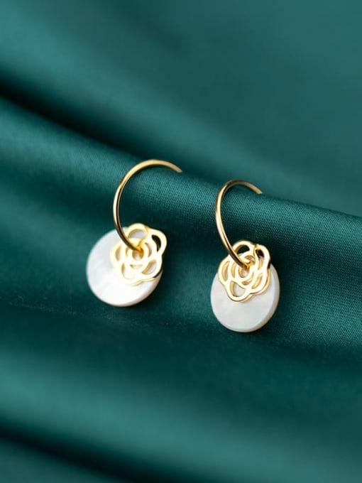 Rosh 925 Sterling Silver Shell  Round Minimalist Hook Earring 0