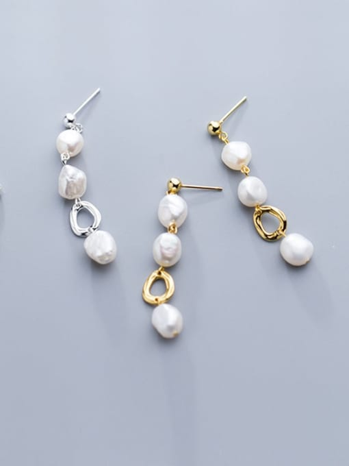 Rosh 925 Sterling Silver Imitation Pearl  Round Trend Drop Earring 2