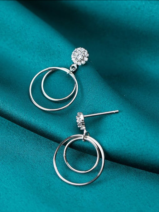 Rosh 925 Sterling Silver Hollow Round Minimalist Drop Earring 1