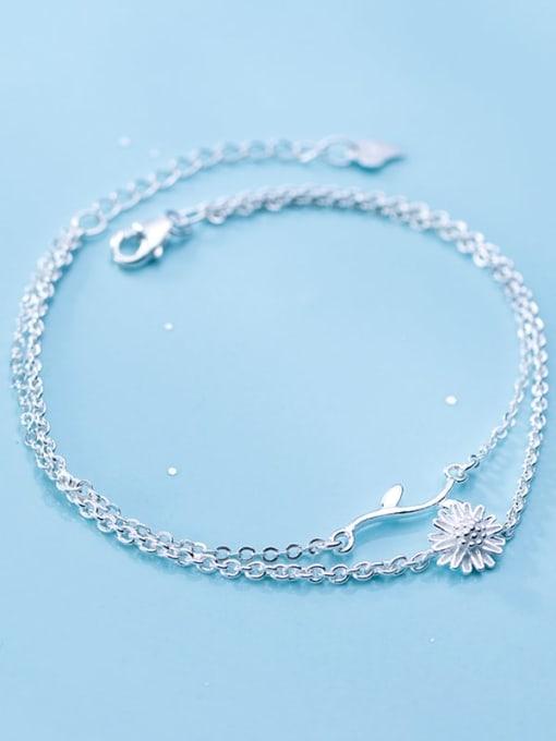 Rosh 925 sterling silver fminimalist Fashion Daisy Leaf Flower Double Bracelet 3