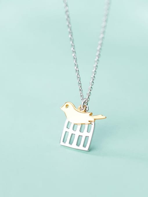 Rosh 925 Sterling Silver Cute golden birdie pendant Necklace 1
