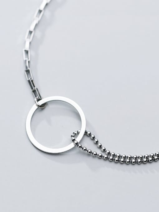 Rosh 925 Sterling Silver Simple Ring Personality Fashion Asymmetry  Link Bracelet 2
