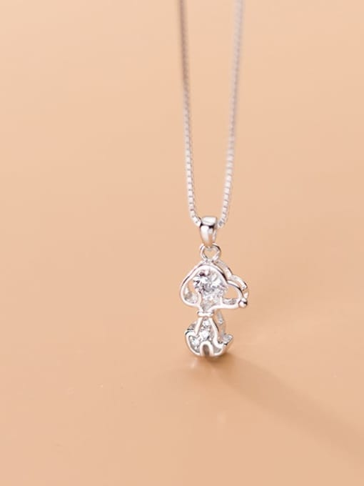 Rosh 925 Sterling Silver Cubic Zirconia Cute Dog Charm Necklace