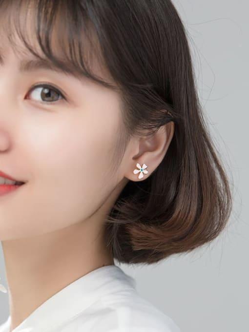 Rosh 925 Sterling Silver flower Stud Earring 2
