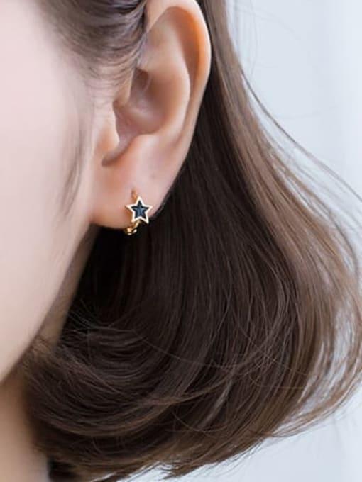 Rosh 925 Sterling Silver Black Enamel Star Minimalist Huggie Earring 2