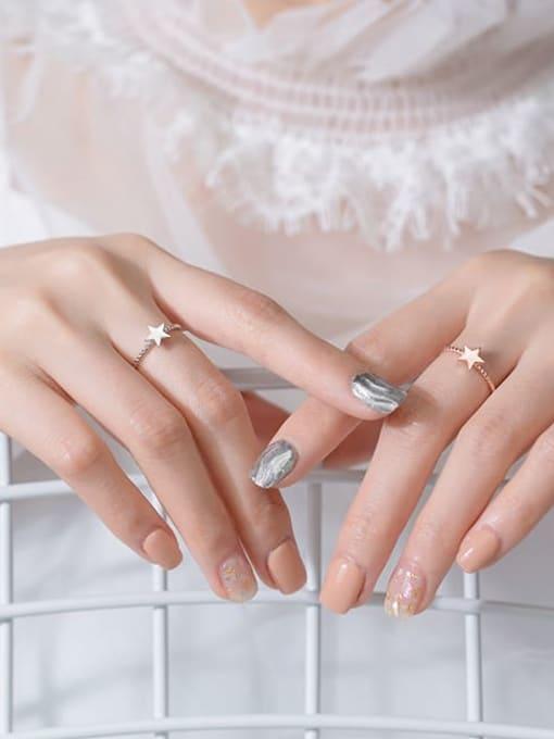 Rosh 925 Sterling Silver Minimalist Fashion pentagram couple Midi Ring 3