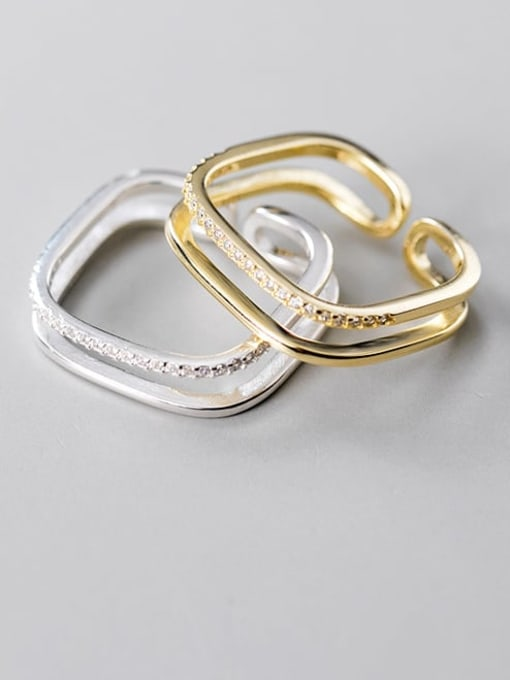 Rosh 925 Sterling Silver Rhinestone  Geometric Minimalist Free Size Band Ring 1