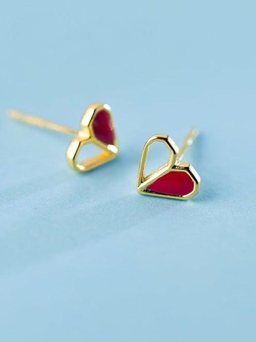 Rosh 925 Sterling Silver Red Enamel Heart Minimalist Stud Earring 0