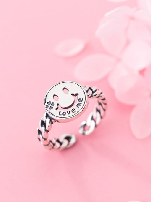 Rosh 925 Sterling Silver  Minimalist Smiley Chain  Free Size Ring 1