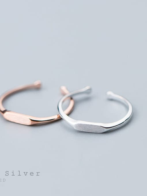 Rosh 925 Sterling Silver Smooth Geometric Minimalist Free Size Midi Ring 3