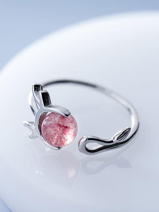 Rosh 925 Sterling Silver Garnet Irregular Minimalist Free Size Ring 2