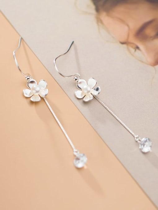 Rosh 925 Sterling Silver Imitation Pearl Tassel Minimalist Hook Earring 0