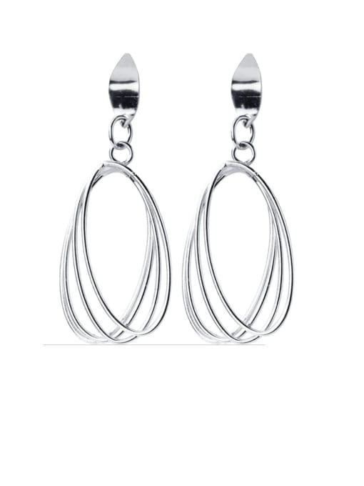 Rosh 925 Sterling Silver Hollow Geometric Minimalist Drop Earring