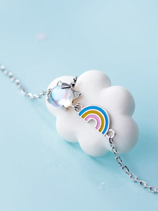 Rosh 925 Sterling Silver Multi Color Rainbow Minimalist Link Bracelet 3