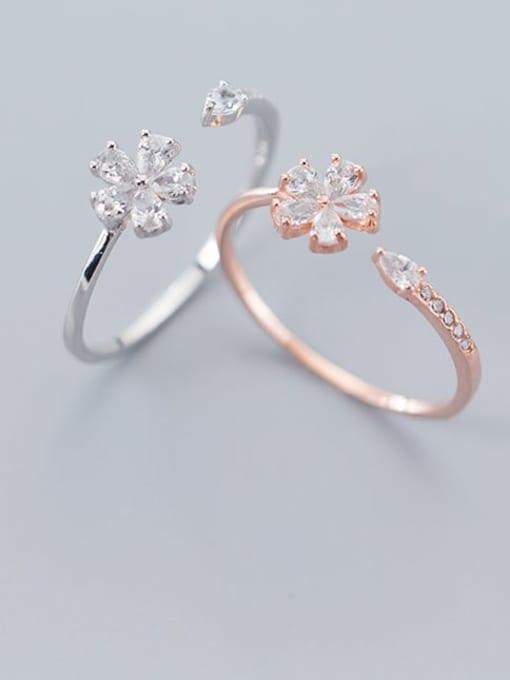 Rosh 925 sterling silver cubic zirconia  flower minimalist free size ring