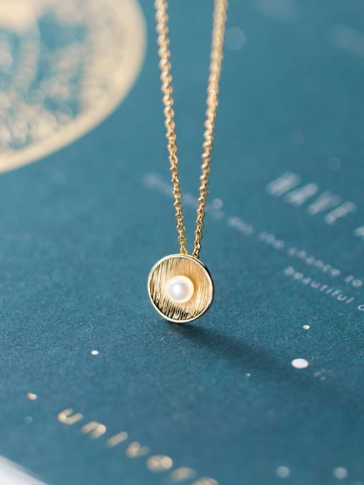 Rosh 925 Sterling Silver Imitation Pearl Round Pendant Necklace
