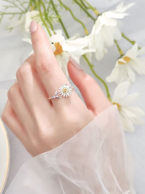 Rosh 925 Sterling Silver Flower Minimalist Band Ring 1