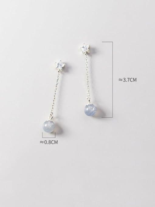 Rosh 925 Sterling Silver Glass Bead Gray Tassel Minimalist Threader Earring 2
