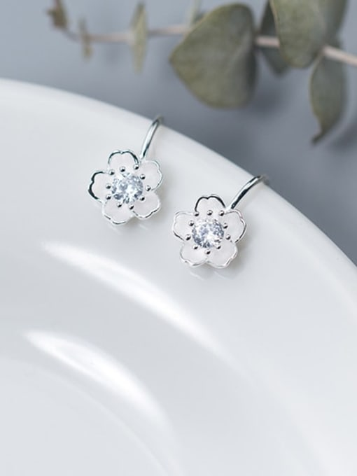 Rosh 925 Sterling Silver Rhinestone White Flower Minimalist Hook Earring 2