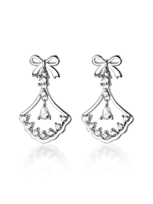 Rosh 925 Sterling Silver Cubic Zirconia Butterfly knot sector Classic Drop Earring 2