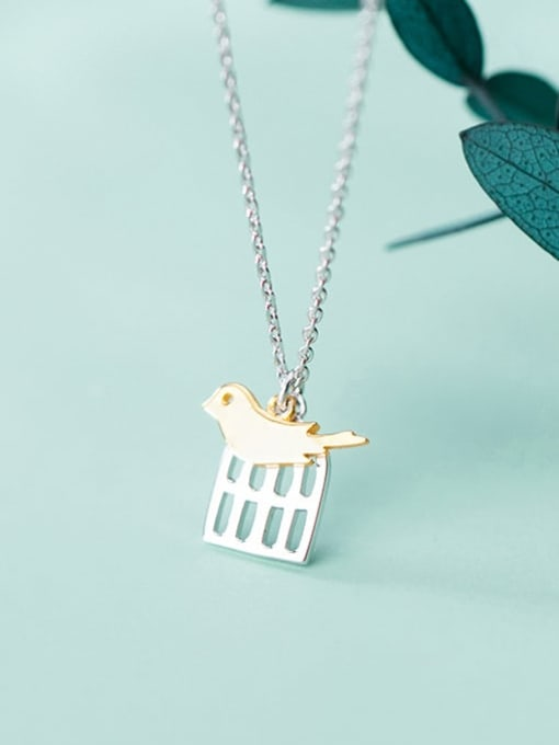 Rosh 925 Sterling Silver Cute golden birdie pendant Necklace