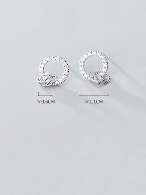 Rosh 925 Sterling Silver Cubic Zirconia  Round Minimalist Stud Earring 1