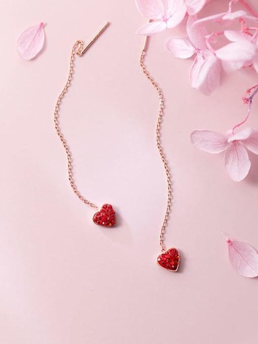 Rosh 925 Sterling Silver Rhinestone Red Heart Minimalist Threader Earring 3