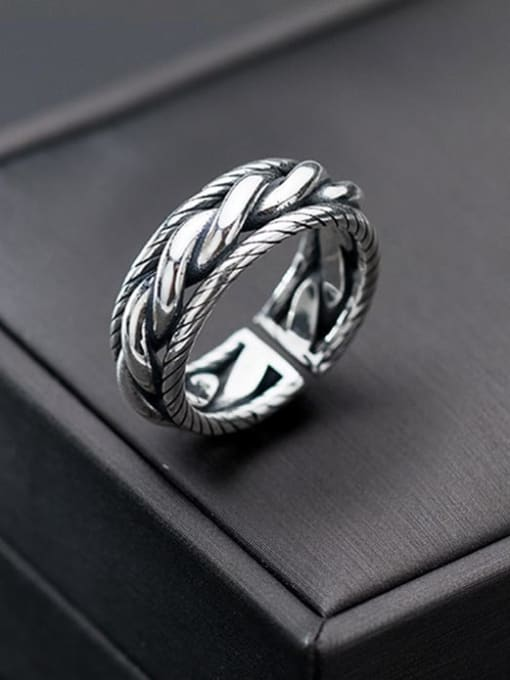 Rosh 925 Sterling Silver Retro spiral multilayer glossy Free Size Ring 2