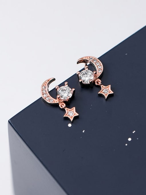 Rosh 925 Sterling Silver Cubic Zirconia  Star Moon Dainty Stud Earring