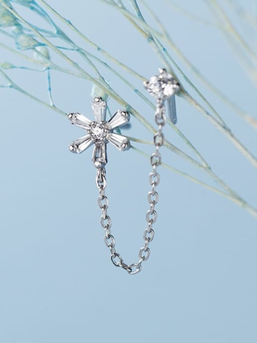Rosh 925 Sterling Silver Cubic Zirconia  Flower Minimalist Threader Earring 4