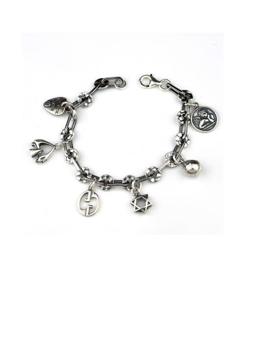 Multi pendant Vintage Bracelet Vintage Sterling Silver With Simple Retro Hollow Chain  Accessories Pendant Bracelets