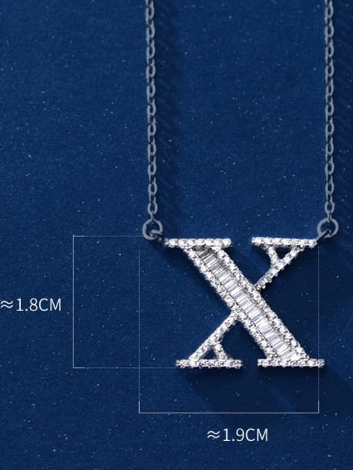 Letter X 925 Sterling Silver Simple Fashion full diamond letters pendant  Necklace