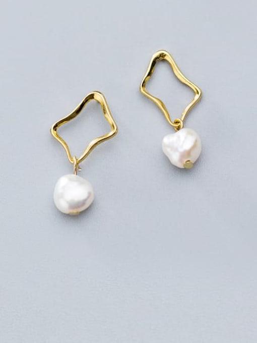 Rosh 925 Sterling Silver Imitation Pearl Hollow Geometric Minimalist Drop Earring 0